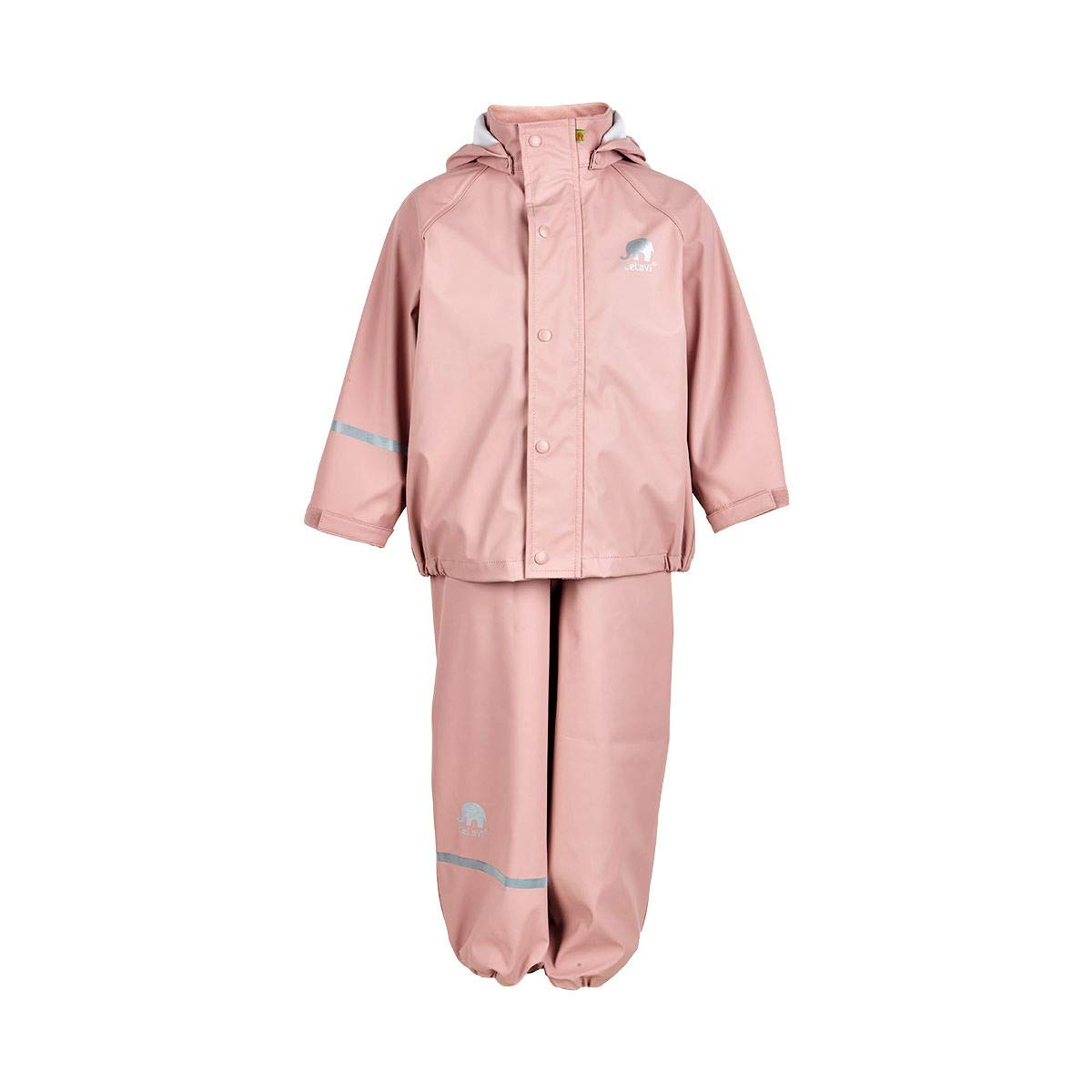 Kids 2 Pcs Rain Set - Jacket & Pants/or Dungarees - 20 Colors (2-9 Years) Misty Rose by CeLaVi
