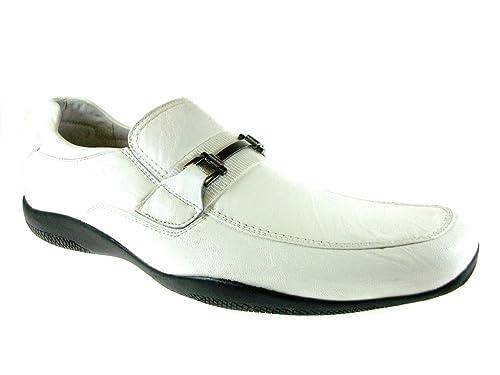 Delli Aldo Mens 30071-White Moccasins Horse Bit Loafers, White, ...