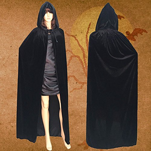 dds5391 Dds5391 Special Festival Offers Adult Halloween Cloak Hooded Floor-length Cape Party Witch Robe Cosplay Costume Black XL