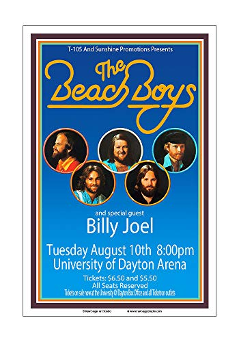 (Raw Sugar Art Studio Beach Boys/Billy Joel 1976 Dayton Concert Poster)
