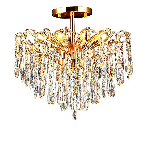 (YUNHAO Crystal Glass Ceiling Lamp Chandelier for Dining Room, Bedroom, Living Room, Size: Diameter 73 cm Height 50 cm Chain Adjustable (Size : 8))