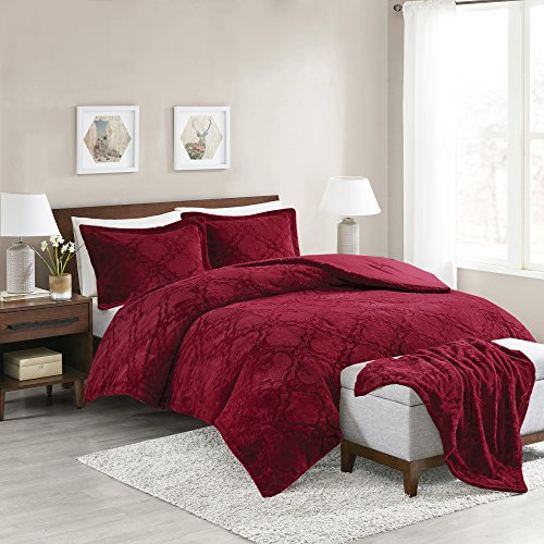 Comfort Spaces - Odessa Comforter Set + Long Fur Throw Combo - 4 Piece - Burgundy - Snugly Warm and Ultra Soft - Full/Queen Size, Includes 1 Comforter, 2 Shams