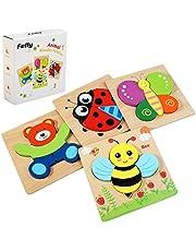 Felly Juguetes Bebes, Puzzles de Madera Educativos para Bebé, Juguetes niños 1 año 2 3 4 5 6 años, Dibujo de Animal Colorido con Placa, Regalo de cumpleaños, Navidad