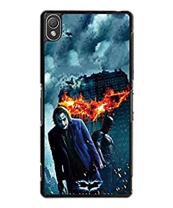 DC Comics Batman And Joker Funda Case Protective Customized Ultra Slim Plastic Back Cover Compatible With Sony Xperia Z3 (Not Fit For Z3 V / Z3 Compact)