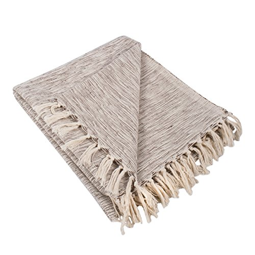 DII Rustic Farmhouse Cotton Variegated Blanket Throw For Cha