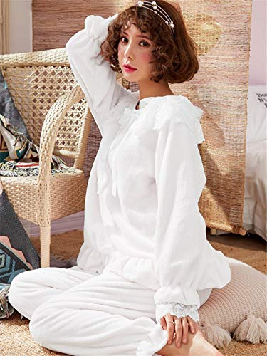 Mujer Caliente Conjunto A E Pijamas Baijuxing Encaje Servicio Piezas Xl Franela Otoño Lindo Pantalones Princesa 2 De Coral Gruesa Dormir Domicilio M Terciopelo Invierno Yvn8vR6