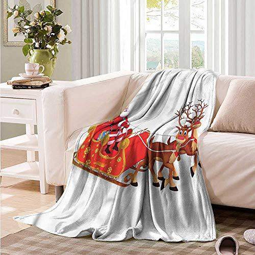 (Oncegod Comfort Blanket Santa Funny Deer Surprise Boxes car/Airplane Travel Throw 72