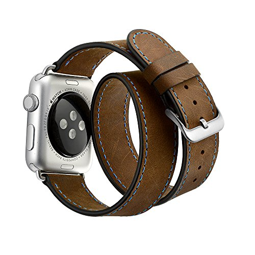 Kartice for Apple Watch Series3 Band,[Blue Stitching] Double Wrap Crazy Horse Genuine Leather apple watch band for Apple Watch Series3 Series 2 Series 1 ,Double Tour Brown 38mm