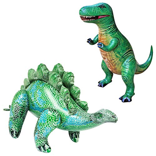 Jet Creations T-Rex Stegosaurus Dinosaur Inflatable 2 Pack for Pool Party Decoration Birthday Gift Kids and Adults DI-TYR3STE2