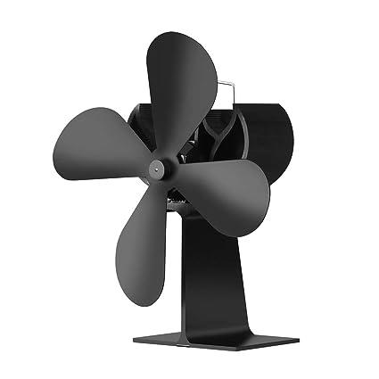 QQDEAL - Ventilador de chimenea termodinámico para estufa de leña, pequeño espacio en el tronco