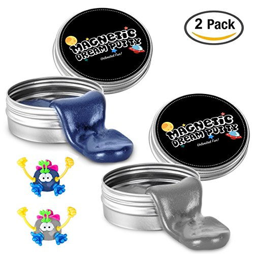 iLC Magnetic Putty Playdough Creative Magnet Toy Slime Stress Reliever for Kids and Adults for Fun (2 Pack) Blue and Silver