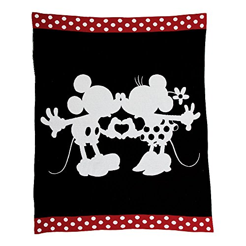 Mouse Mickey Minnie Disney (Ethan Allen | Disney Mickey and Minnie Mouse Perfect Pair Knit Throw, Mickey's Ears (Black))