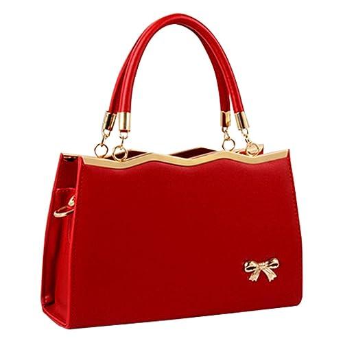 MissFox Reißverschluss Handtasche Umhängetasche Bowknot Bow Damenhandtaschen Weinrot