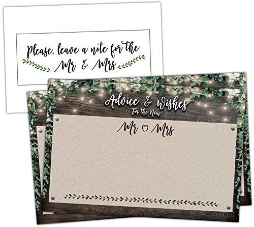 50 Rustic Wedding Advice Cards - Well Wishes for Bride and Groom - Perfect for Guest Book Alternatives, Bridal Shower Games, Wedding Decorations for Reception, Marriage Advice for the Mr and Mrs]()