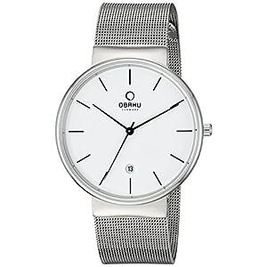 Obaku Men's Quartz Stainless Steel Dress Watch, Color:Silver-Toned (Model: V153GDCIMC)