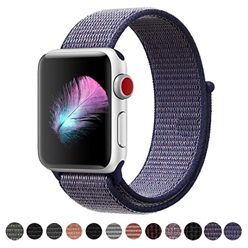 Yunsea Compatible for Apple Watch Band 44mm, Soft Nylon Sport Loop, with Hook and Loop Fastener, Band Compatible for iwatch Series 4 (44mm, Midnight Blue)