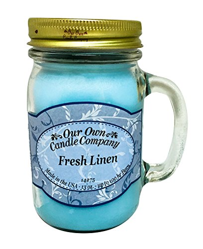 Our Own Candle Company Fresh Linen Scented 13 Ounce Mason Jar Candle (Scented Linen Candles)