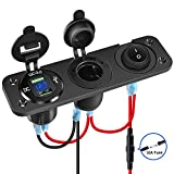 Nilight 4 in 1 Charger Socket Panel Dual QC3.0 USB Charger with LED Voltmeter Display and Cigarette Lighter Socket and Power Cutoff Switch,Avoid Battery Drain Off Switch for UTV ATV