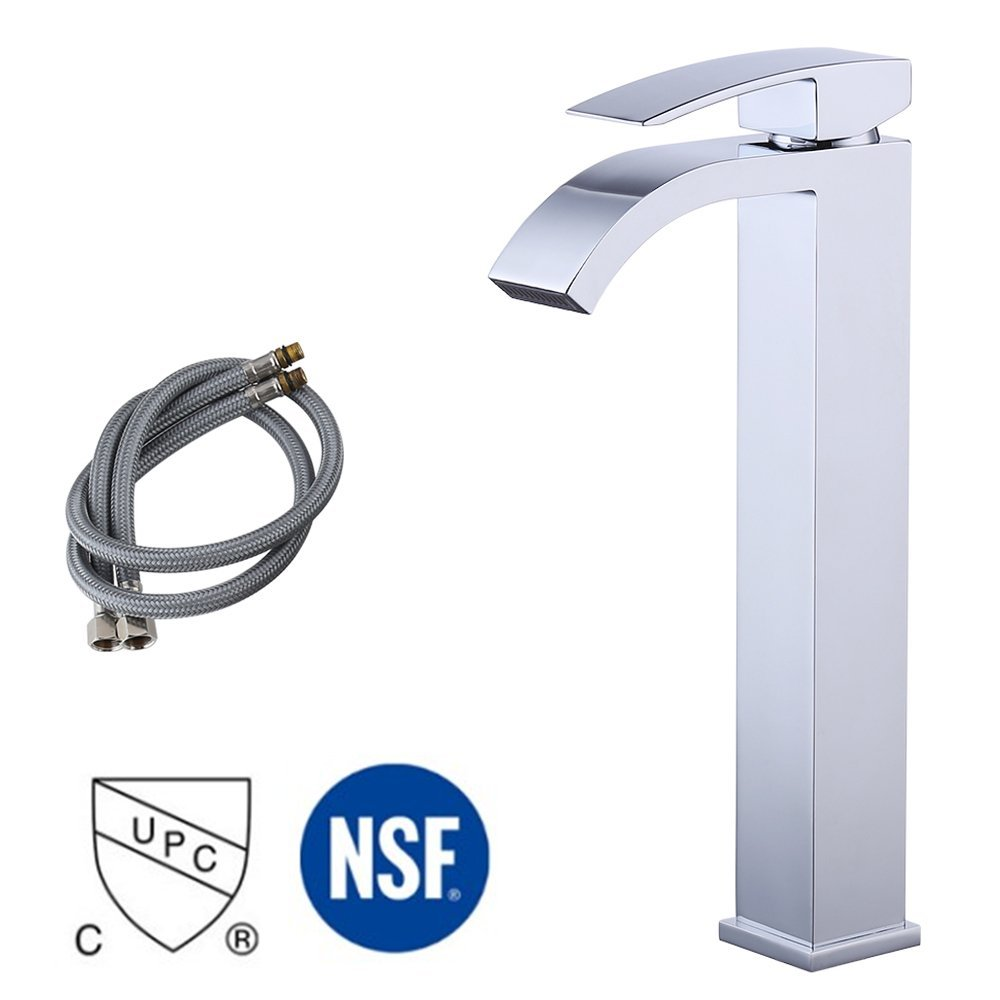 KES Lead-Free Brass Bathroom Sink Faucet Single Handle Waterfall Spout for Vessel Bowl Sink Faucet Countertop Tall Polished Chrome, L3109B1LF