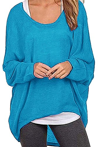 Lyxinpf Women Baggy Pullover Shirts Oversized Long Sleeve Batwing Blouse Knits Tops Blue M (Sweater Oversized Boatneck)