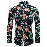 Plus Size Men's Hawaiian Shirts Autumn Casual Long Sleeve Button Tops Floral Print Slim Dress Shirt