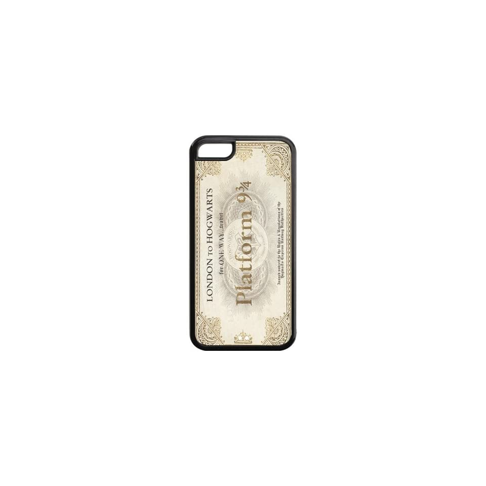Harry Potter Hogwarts Train Ticket Inspired Design Black Sides TPU Case Protective For Iphone 5c iphone5c NY145