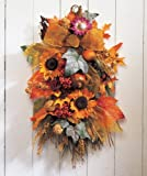 Autumn Swag Fall Harvest Thanksgiving Country Primitive Home Accent Decoration (sunflower floral)