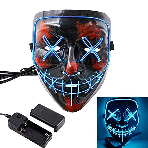HOLIKE Halloween Purge Mask LED Light up Scary Glowing Mask for Festival Cosplay Halloween Costume(Blue)