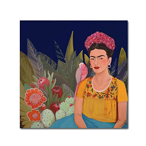 Frida A Casa Azul Revisitated by Sylvie Demers, 24x24-Inch Canvas Wall Art