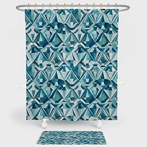 iPrint Light Blue Shower Curtain And Floor Mat Combination Set Abstract Polygonal Diamond Forms Up and Down Glamour Concept Tile For decoration and daily use Blue Light Blue Dark Blue