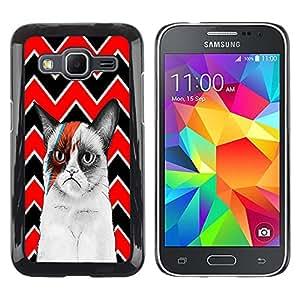 - Chevron Grumpy Cat - - Hard Plastic Protective Aluminum Back Case Skin Cover FOR Samsung Galaxy Core Prime G360 G3608 G3606 Queen Pattern
