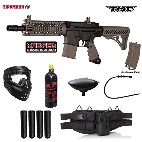 Tippmann TMC MAGFED Silver Paintball Gun Package - Black/Tan