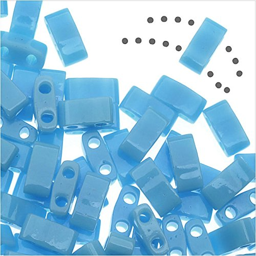 Miyuki Half Tila 2 Hole Rectangle Beads 5x2.3mm - Opaque Turquoise Blue 7.8 Grams