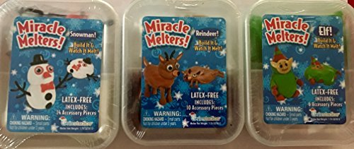 Miracle Melters! Christmas! Reindeer, Elf and Snowman Set of 3! Build it and watch it melt!