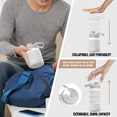 94a2ba6ed5c5 MoKo Collapsible Water Bottle, Portable Leak-Proof BPA Free 100% Food-Grade  Silicone Folding Drinking Water Bottle 18oz for Indoor Outdoors Sports ...