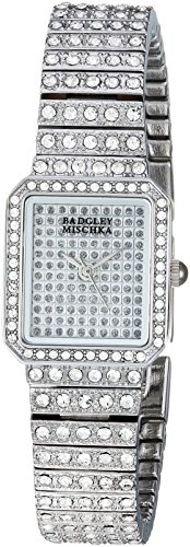 Badgley Mischka Women's BA/1383SVSV Swarovski Crystal Accented Silver-Tone Bracelet Watch