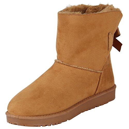 Stiefelparadies Warm Gefütterte Stiefel Damen Stiefeletten Schleifen Satinoptik Schuhe Bequeme Schlupfstiefel Kuschelig Warme Boots Flandell Hellbraun Agueda