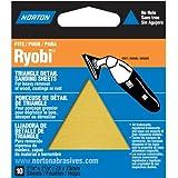 Norton 07660749283 Adhesive Backed Triangle Sanding Sheet for Ryobi Sander, P100 Grit, Medium Grade (Pack of 10)
