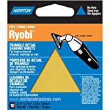 Norton 07660749283 Adhesive Backed Triangle Sanding Sheet for Ryobi Sander, P100 Grit, Medium Grade (Pack of 10)