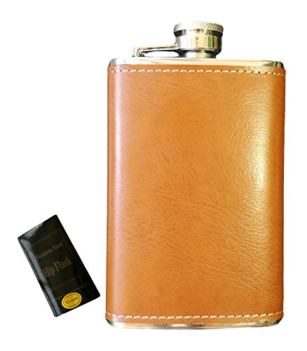 Qingsm Leather Wrapped Cover Stainless Steel Hip Flask 5 Oz Pocket Flagon (Yellow Brown)