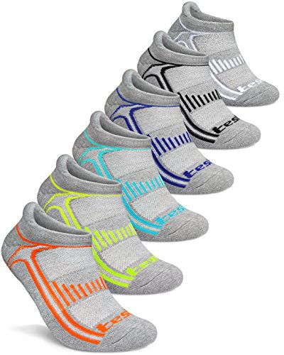 (TSLA Men's 6-Pairs Atheltic No Show Socks Cushioned Comfort w Mesh, No Show Active(mzs05) - Grey, Medium. )