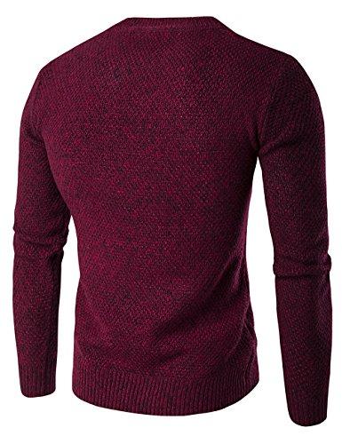Xs shirt Bourgogne Sweat En Pull L Uni Manche Glestore Tricot Homme S M Maille Col Longue Rond x7TwSnq