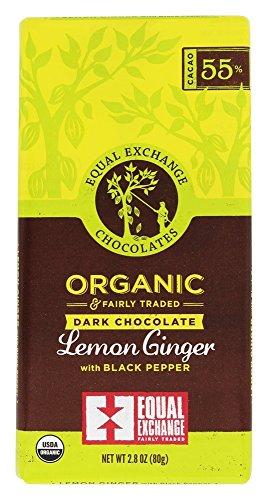 Equal Exchange Organic Dark Chocolate Lemon Ginger With Black Pepper, 2.8 Ounce