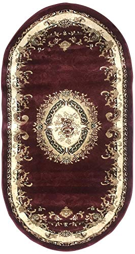Traditional Burgundy Aubusson Floral Oval Persian 330,000 Point Area Rug Design 602 (31 Inch X 4 Feet 11 Inch) (Aubusson Oval Rug)