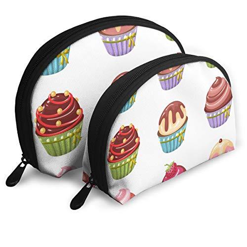 Makeup Bag Cupcakes Art Portable Shell Cosmetic Bags For Women Halloween Gift 2 -
