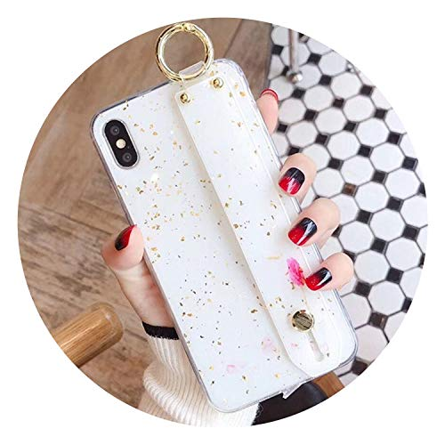 Gold Foil Marble Phone Case for iPhone Xs Max X XR 8 7 6 S Plus Cover Fashion Wrist Stand Cases Luxury Candy Color Capa,Style 1,for iPhone Xs (Htc One Max Stitch Case)