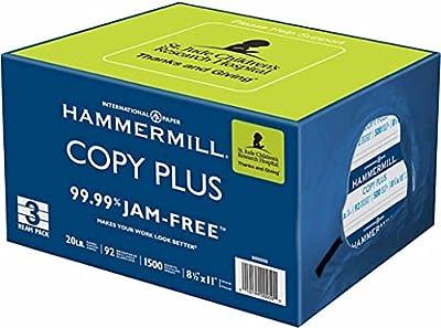 "Hammermill 3-Ream Pack Copy Plus Multipurpose Fax Laser Inkjet Printer Paper, 8 1/2"" x 11"" Letter Size, 92 Bright White, 20 lb. Acid Free, ColorLok, 99.99% Jam Free"