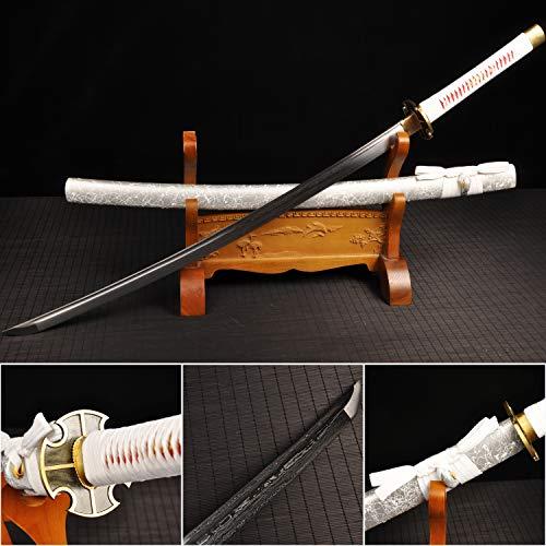 - Yongli Sword Handmade Full Tang White Japanese Katana Damascus Folded Steel Real Samurai Sword Katana Sharp Edge