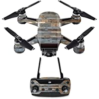 Skin for DJI Spark Mini Drone Combo - Gray Wood| MightySkins Protective, Durable, and Unique Vinyl Decal wrap cover | Easy To Apply, Remove, and Change Styles | Made in the USA