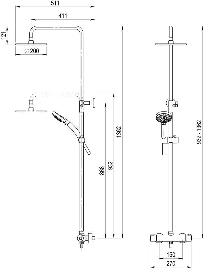 Galindo Pysa 50049300 columna de ducha termostática con columna ...